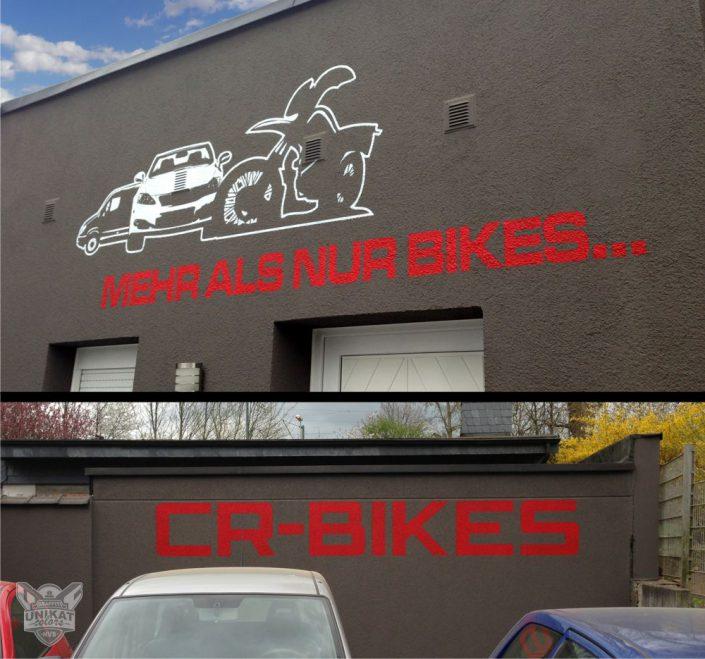 Zeichnung auf Fassade als Werbung