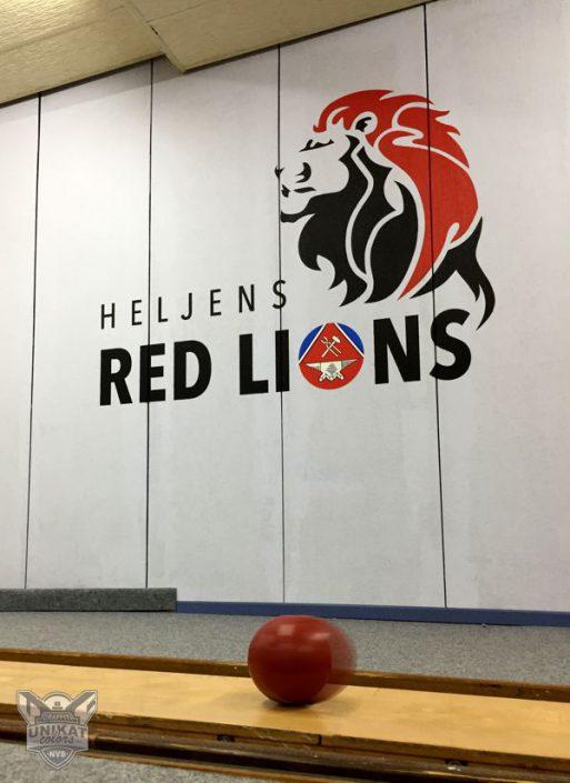 Löwe und logo auf Wand